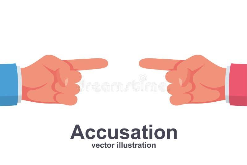 Due persone in un punto di disputa ad a vicenda con le loro dita illustrazione vettoriale