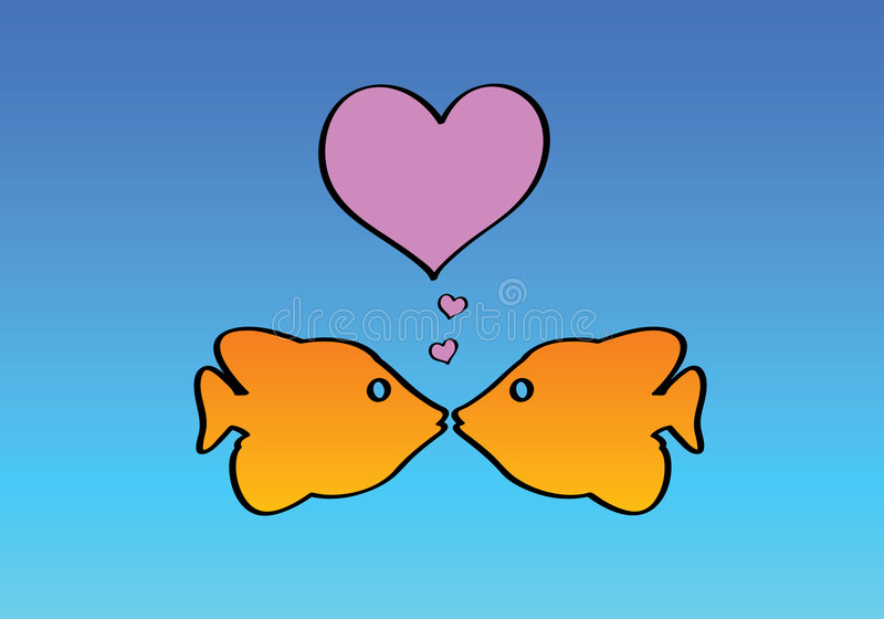 Due pesci nell'amore royalty illustrazione gratis