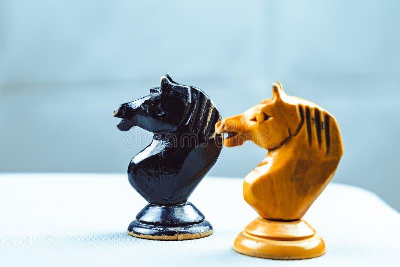 Due pezzi degli scacchi dei cavalli fotografie stock