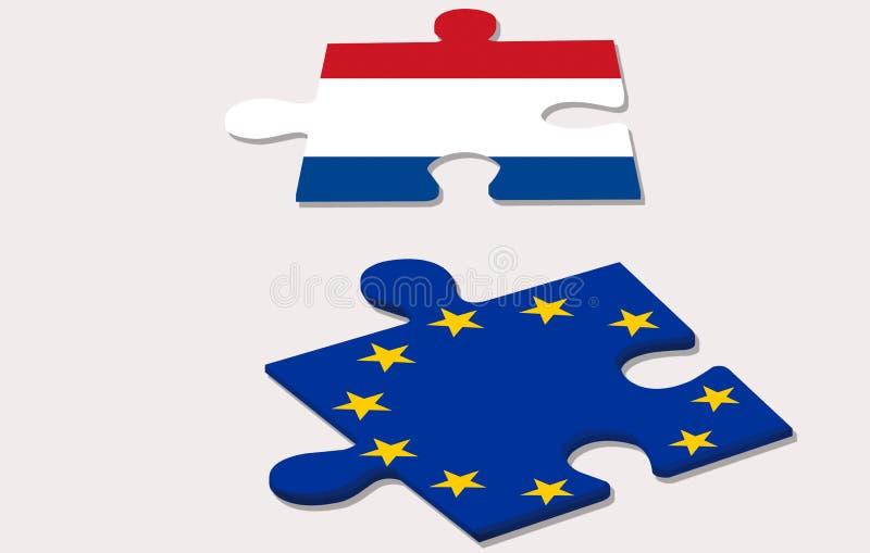 In due pezzi del puzzle che rappresenta duri dell'Unione Europea e dell'Olanda illustrazione di stock
