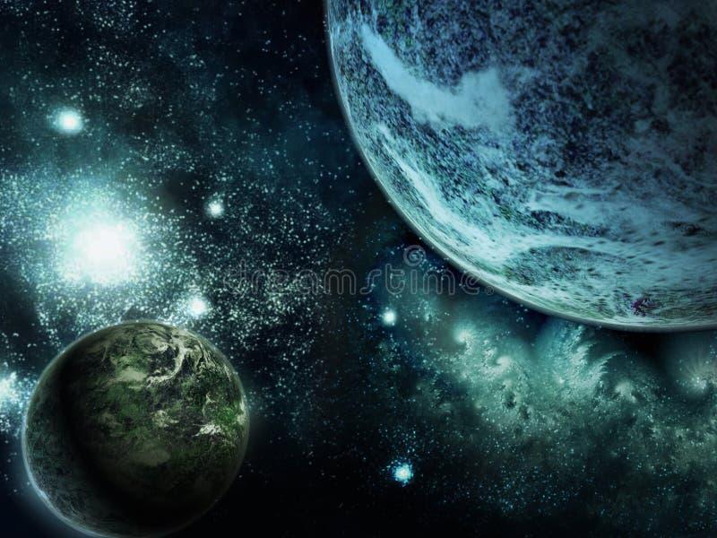 Due pianeti nello spazio profondo illustrazione vettoriale