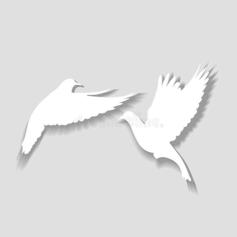 Due piccioni bianchi decollano, un simbolo di amore e felicità illustrazione vettoriale