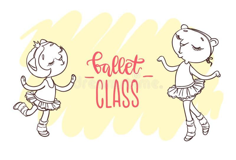 Due piccole ballerine sveglie in tutu di balletti Iscrizione: balletto illustrazione vettoriale