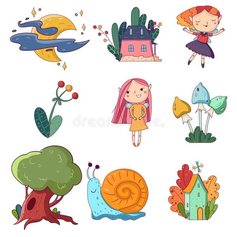 Due piccole case e piante leggiadramente Vecchio quercia-albero Luna con le stelle e le nuvole Fatati delle ragazze e lumaca dive royalty illustrazione gratis