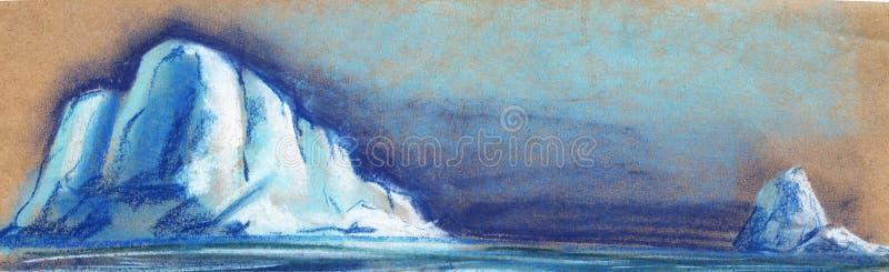 Due piccoli iceberg bianchi sui precedenti del cielo notturno Dipinto con pastello sull'illustrazione della carta illustrazione di stock