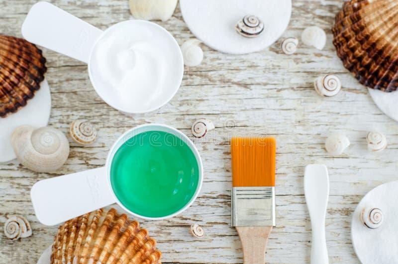 Due piccoli mestoli con il gel verde mascherano e crema facciale con lo spirulina e gli estratti marini del collagene Stazione te immagine stock