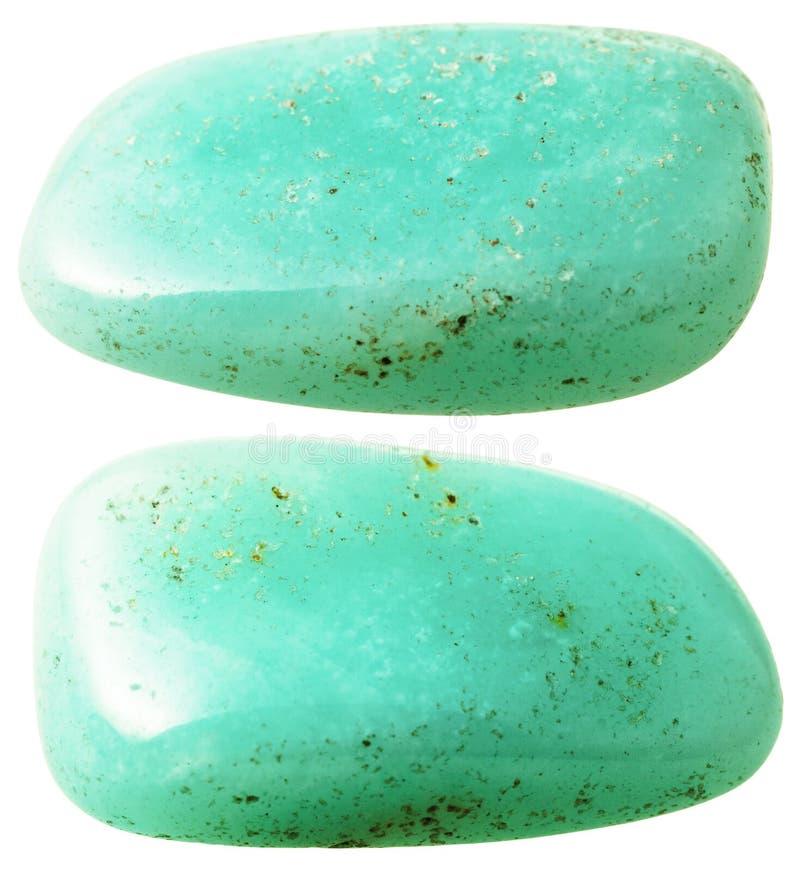 Due pietre preziose dell'acquamarina (berillo) isolate fotografie stock libere da diritti