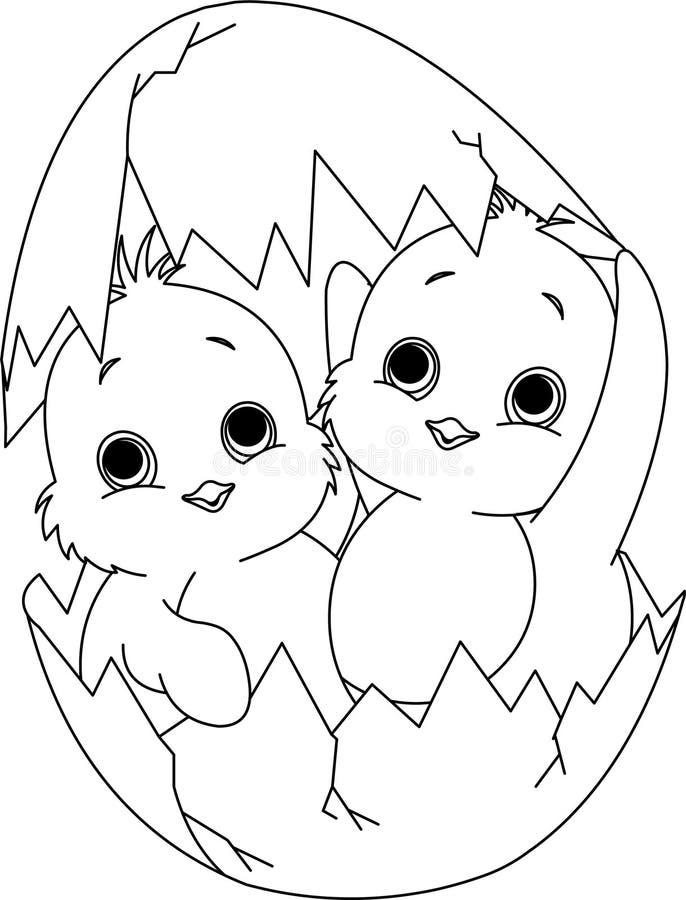Due polli di Pasqua nell'uovo. Pagina di coloritura illustrazione vettoriale