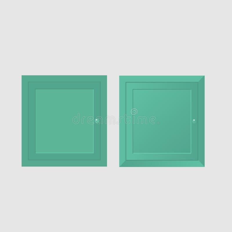 Due porte verdi del gabinetto royalty illustrazione gratis