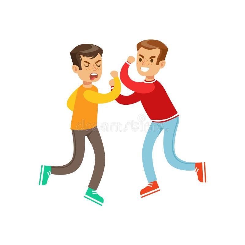 Due posizioni uguali di lotta del pugno dei ragazzi di dimensione, spaccone aggressivo in agrostide bianco della manica lunga che royalty illustrazione gratis