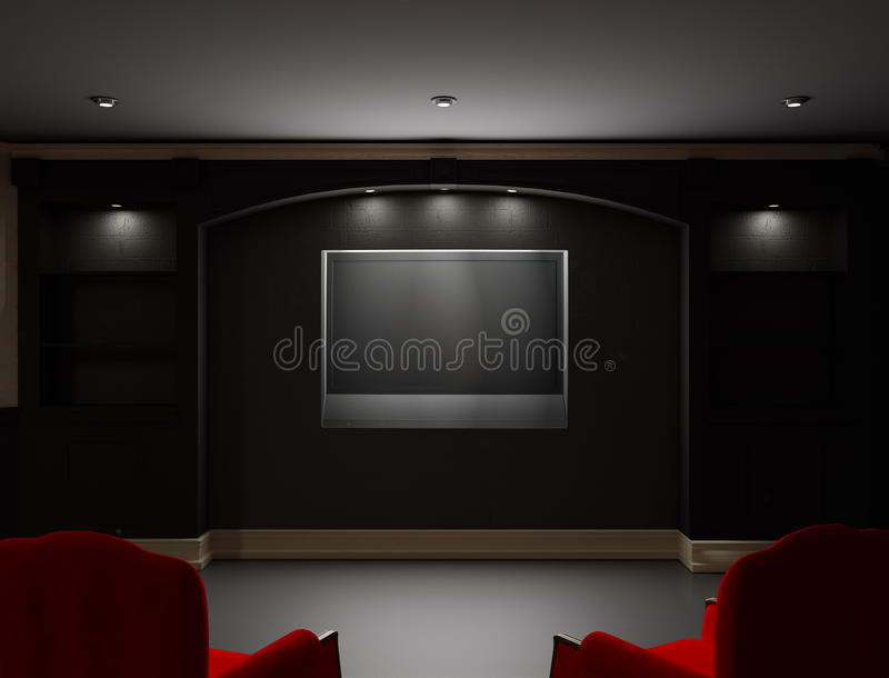 Due presidenze rosse con affissione a cristalli liquidi TV sulla parete illustrazione vettoriale