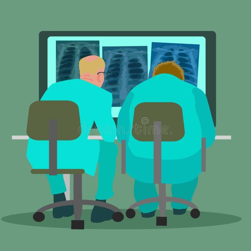 Due pulmonologists di medici che esaminano le immagini del raggio del petto x Vettore illustrazione vettoriale