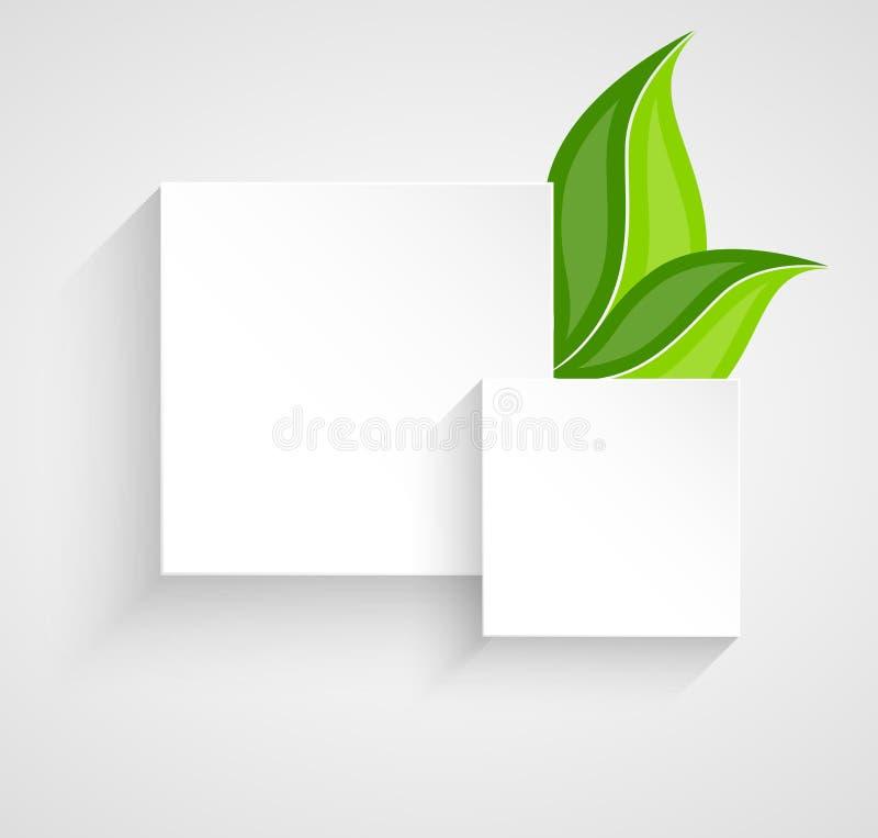 Due quadrati di carta con le foglie illustrazione vettoriale