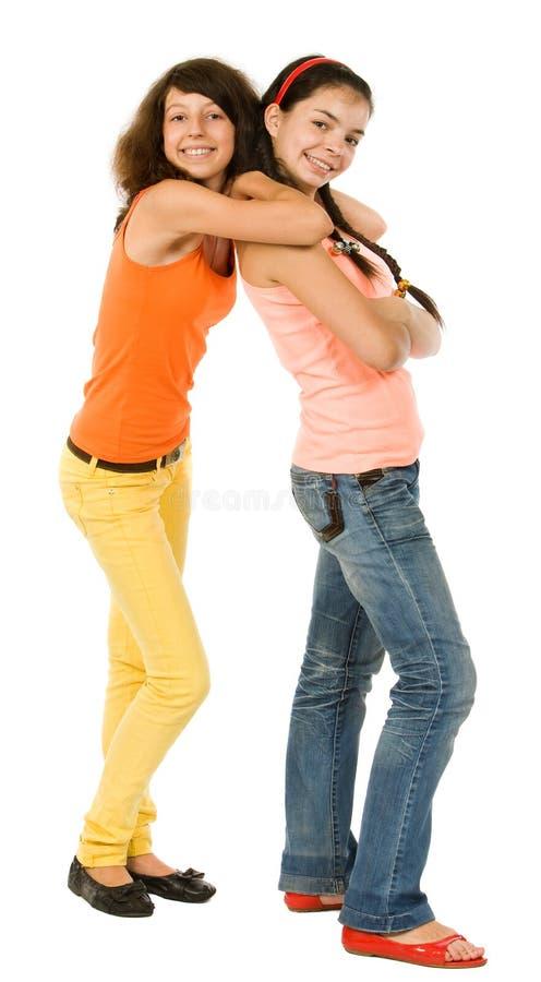 Due ragazze allegre fotografia stock libera da diritti