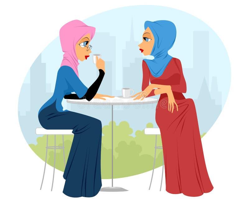 Due ragazze in caffè illustrazione vettoriale