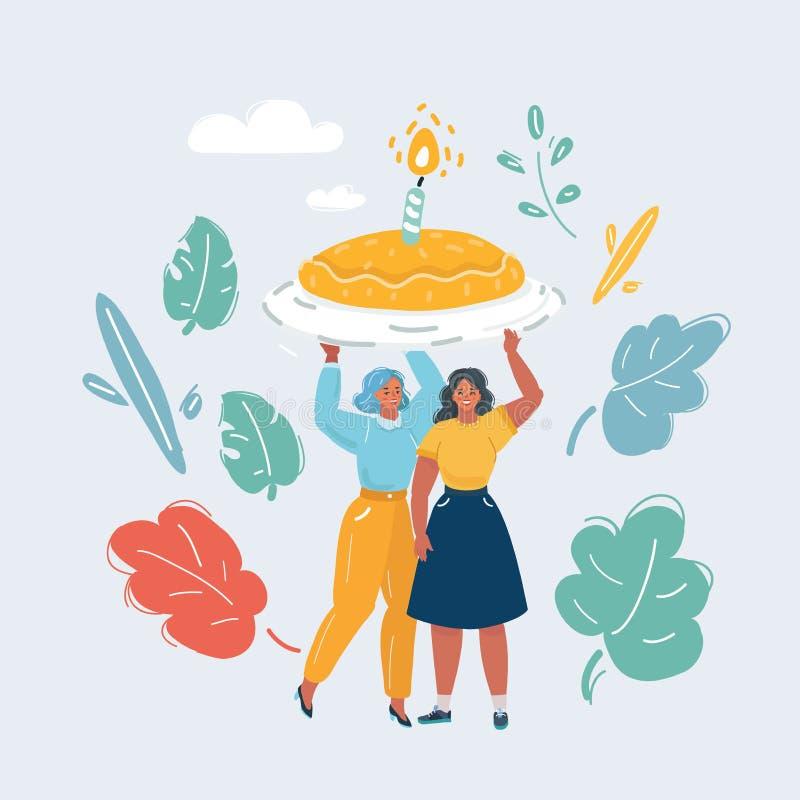 Due ragazze celebrano il compleanno illustrazione di stock