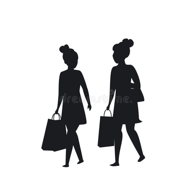 Due ragazze che camminano con la siluetta dei sacchetti della spesa illustrazione di stock