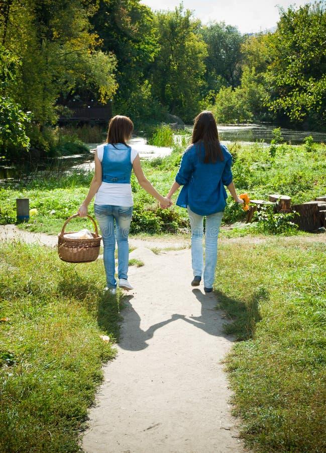 Due ragazze che camminano congiuntamente immagine stock libera da diritti