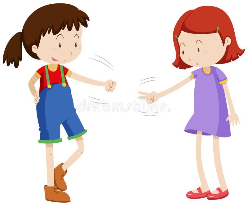 Due ragazze che giocano la roccia di carta di forbici illustrazione vettoriale