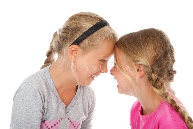 Due ragazze che ridono insieme le teste fotografie stock libere da diritti