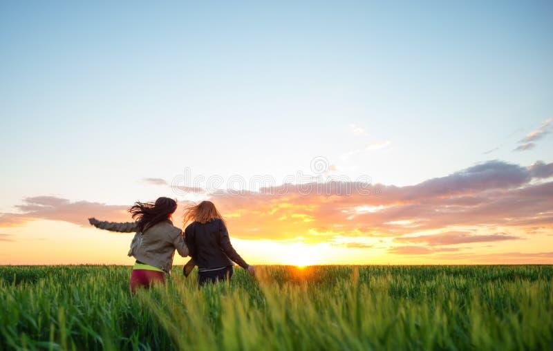 Due ragazze che si imbattono in grano al tramonto fotografia stock
