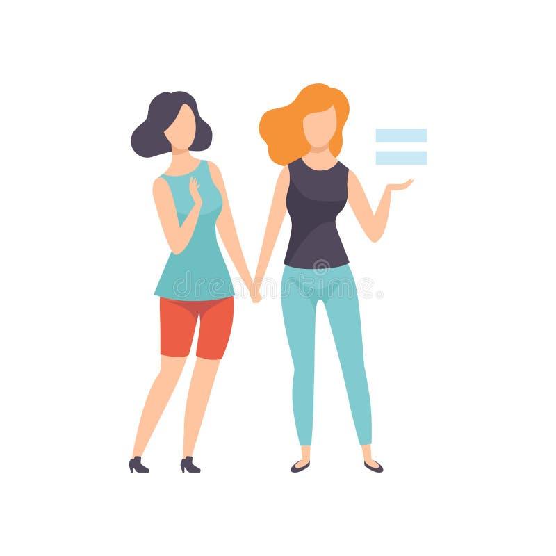 Due ragazze che si tengono per mano, giovani donne che sostengono per l'uguaglianza di genere, libertà, diritti civili, vettore d royalty illustrazione gratis