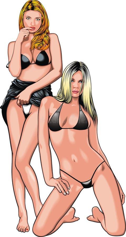 Download Due ragazze dal mio sogno illustrazione vettoriale. Illustrazione di bello - 56875876