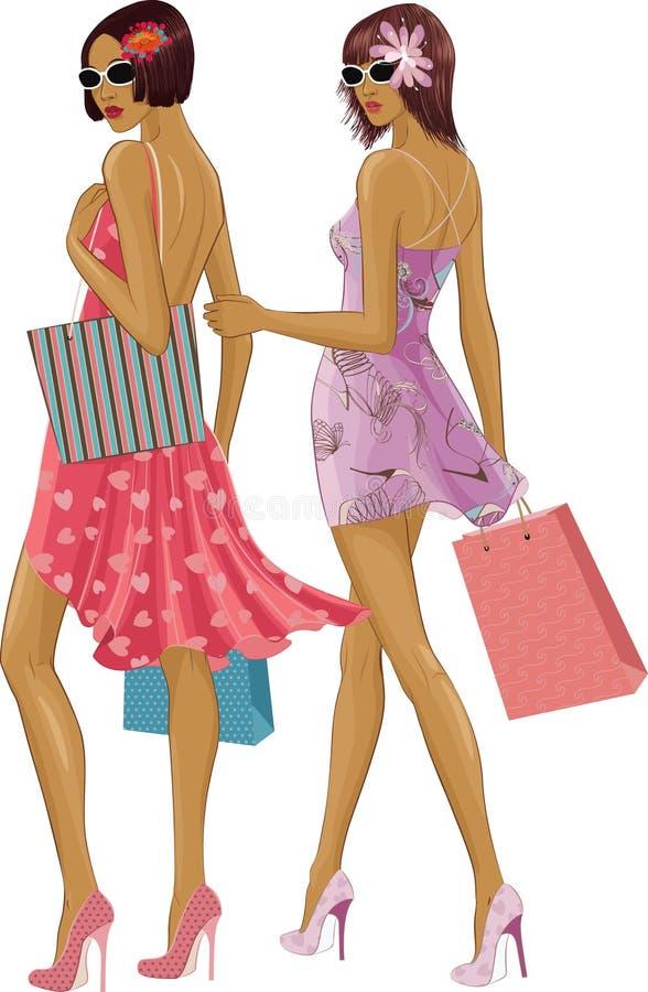 Due ragazze di acquisto illustrazione vettoriale
