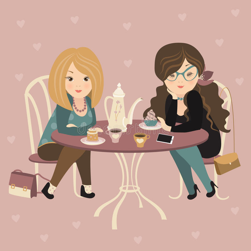 Due ragazze di modo che chiacchierano ad un caffè royalty illustrazione gratis