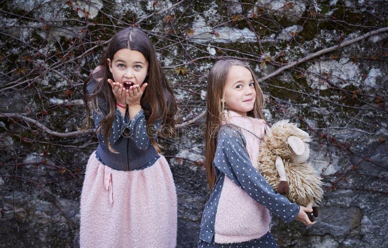 Due ragazze emozionali che posano sul fondo grigio della roccia fotografie stock libere da diritti