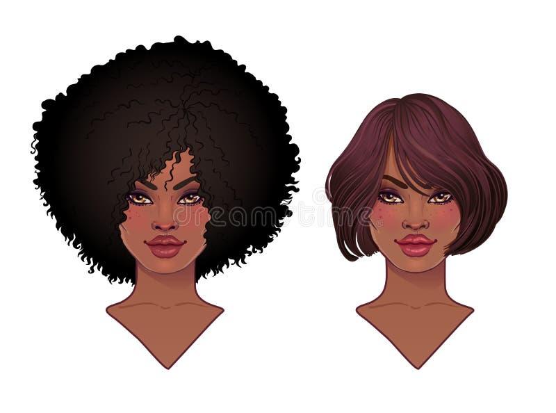 Due ragazze graziose afroamericane Vector l'illustrazione della donna di colore con l'acconciatura ed il collo di afro royalty illustrazione gratis