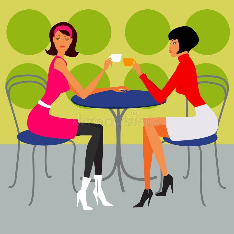 Due ragazze nel caffè illustrazione vettoriale
