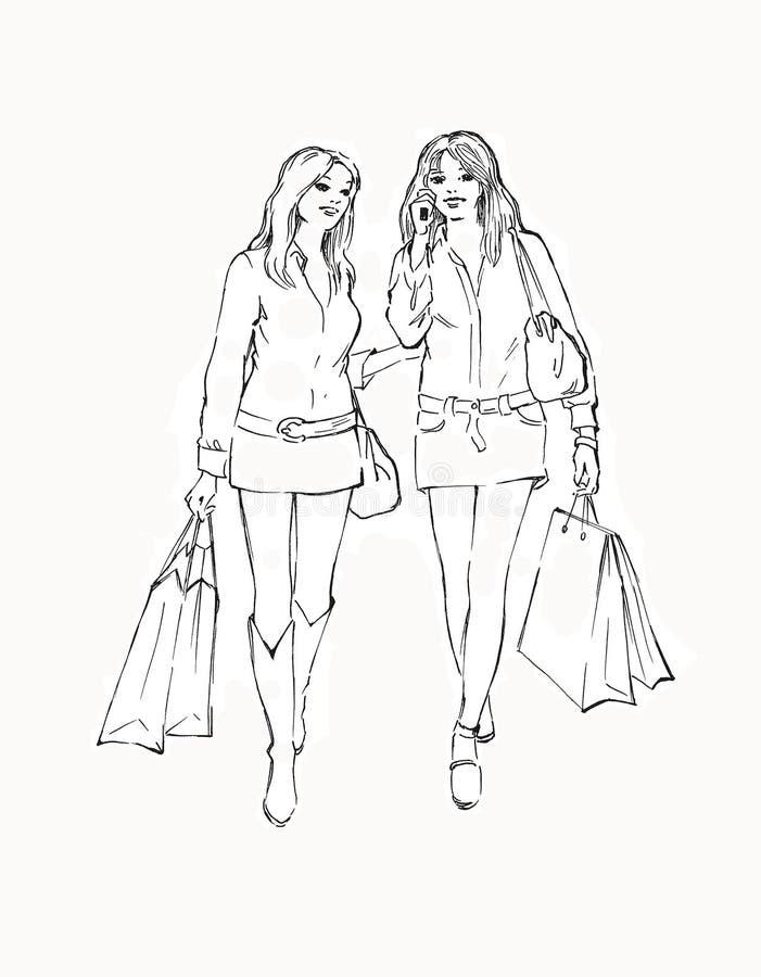 Due ragazze nella memoria illustrazione di stock
