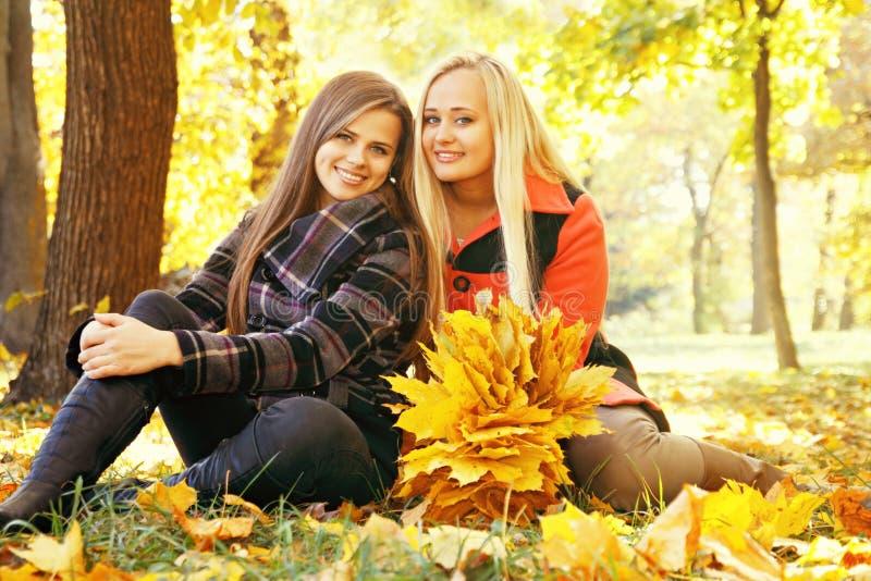 Due ragazze sorridenti, tinte fotografia stock
