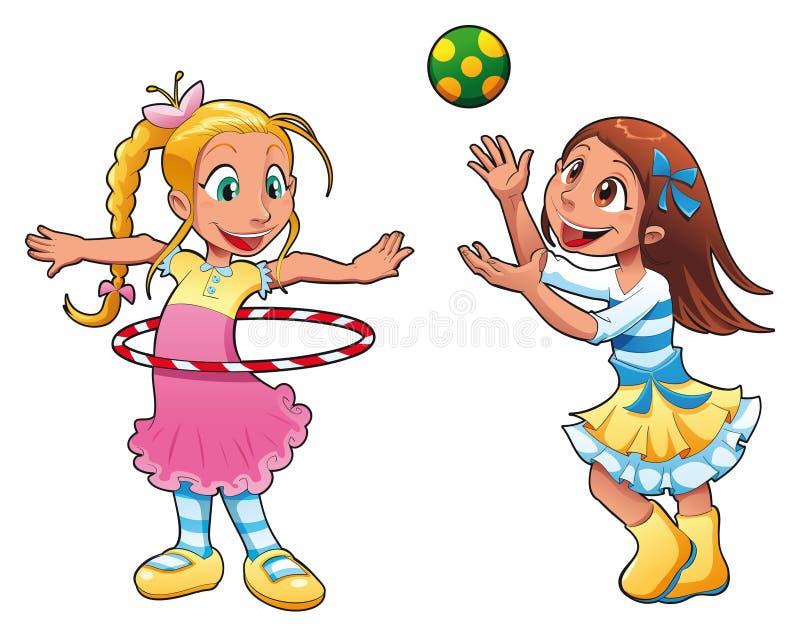 Due ragazze stanno giocando. illustrazione di stock