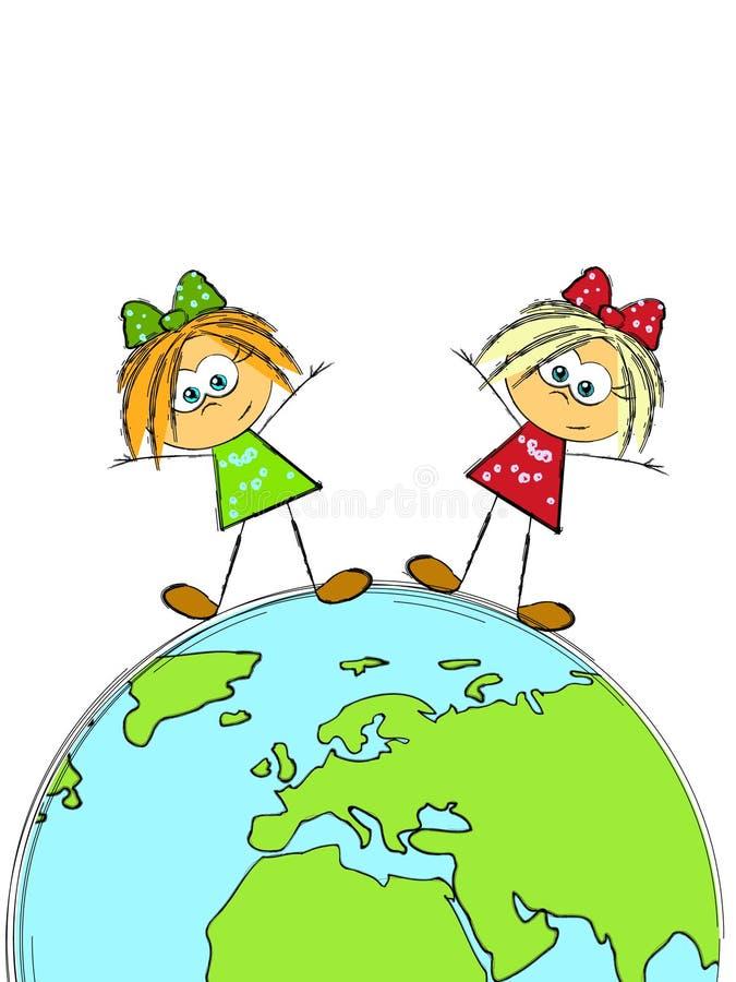 Due ragazze su terra illustrazione di stock