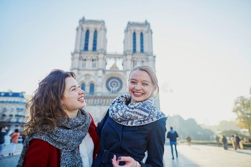 Due ragazze vicino a Notre-Dame a Parigi immagini stock libere da diritti