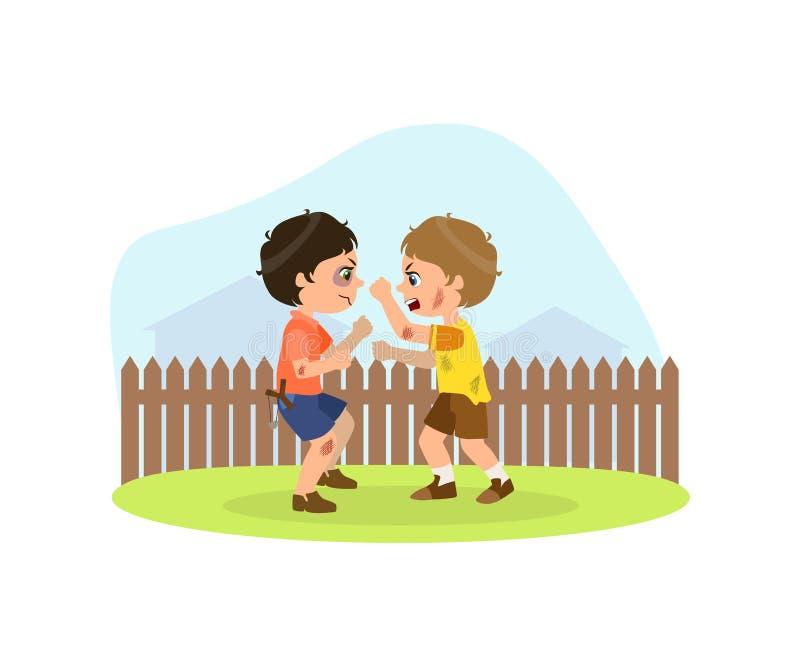 Due ragazzi aggressivi che combattono, cattivo comportamento, conflitto fra l'illustrazione di vettore dei bambini royalty illustrazione gratis