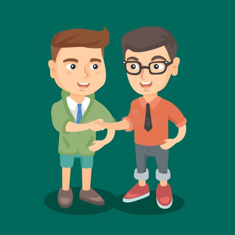 Due ragazzi caucasici di affari che stringono le mani royalty illustrazione gratis