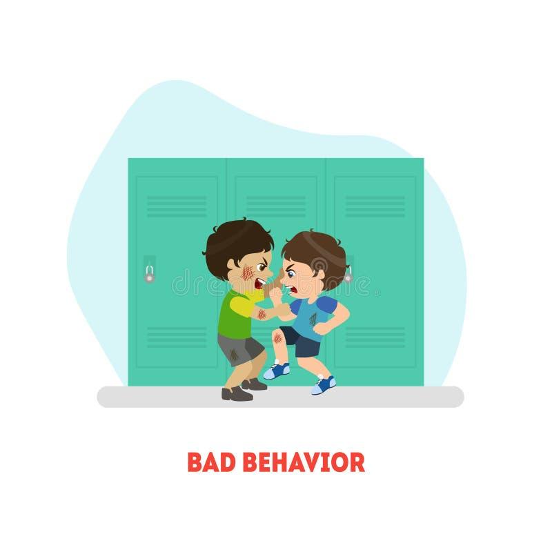 Due ragazzi che combattono, cattivo modello dell'insegna di comportamento, conflitto fra l'illustrazione di vettore dei bambini illustrazione vettoriale