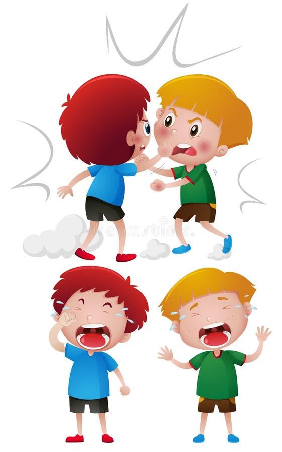 Due ragazzi che combattono e che gridano illustrazione di stock