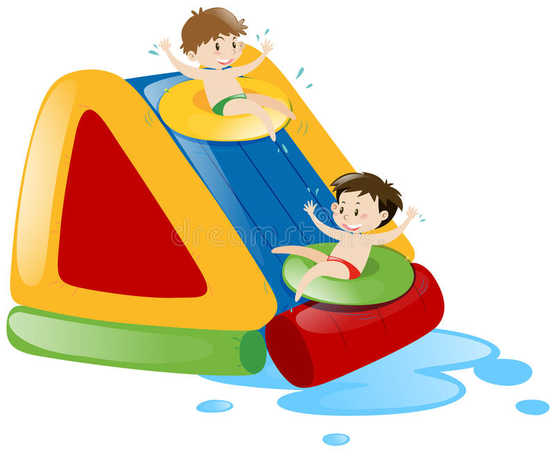Due ragazzi che fanno scorrere giù l'acquascivolo royalty illustrazione gratis