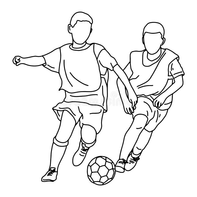 Due ragazzi che giocano a calcio insieme scarabocchio di schizzo dell'illustrazione di vettore disegnato a mano con le linee nere royalty illustrazione gratis