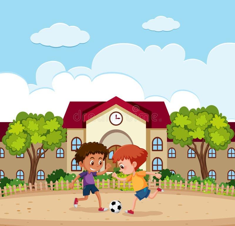 Due ragazzi che giocano a calcio scuola esterna illustrazione vettoriale