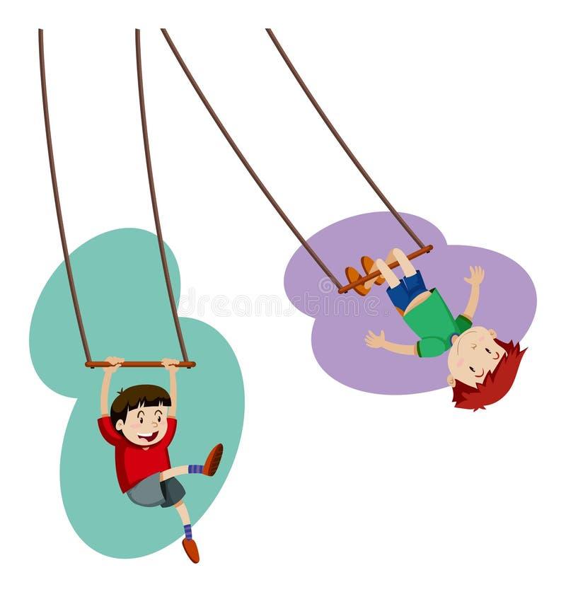 Due ragazzi che giocano a disposizione oscillazione illustrazione di stock