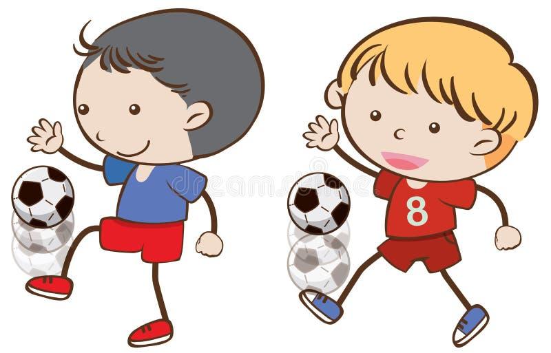 Due ragazzi che giocano gioco del calcio royalty illustrazione gratis