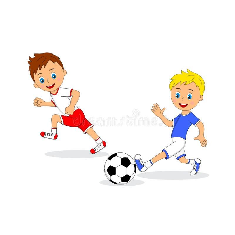 Due ragazzi che giocano gioco del calcio illustrazione vettoriale