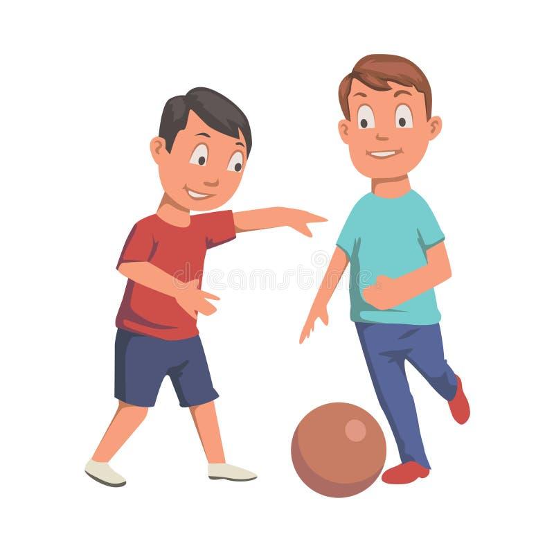 Due ragazzi che giocano gioco del calcio Illustrazione piana di vettore Isolato su priorità bassa bianca royalty illustrazione gratis