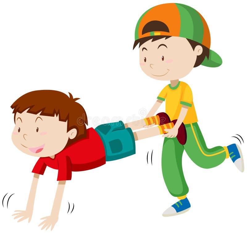 Due ragazzi che giocano la corsa della carriola di ruota illustrazione vettoriale