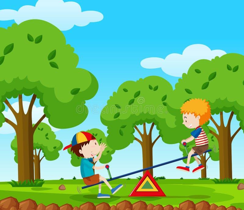 Due ragazzi che giocano movimento alternato nel parco illustrazione di stock